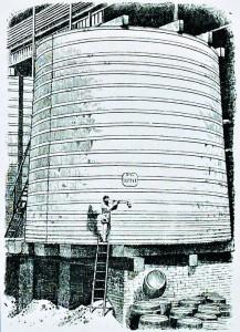 En klassisk gammel lagertank af træ på porterbryggeriet Barclay Perkins. Fra bogen