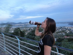 Mariana. Drinking beer in Brazil