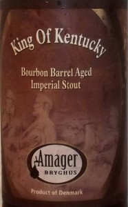 Etiketten til Amager Bryghus fadlagrede imperial stout King of Kentucky