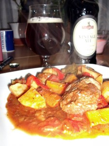 Ølbraiserede svinekæber med rodfrugter og serveret med Fuller's Vintage Ale 2012