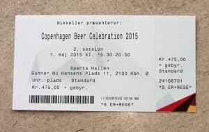 My ticket for Copenhagen Beer Celebration 2015