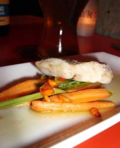 Stegt kulmule med gulerødder og ærter på Bar Snik Snak