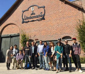 The press tour outside the Lindemans Brewery