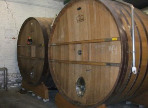 100 HL oak vats for maturing lambic beer at Brewery Lindemans