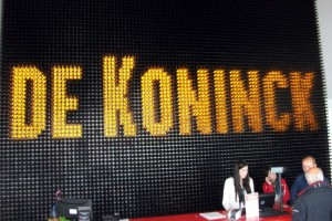 De Koninck decoration in the ticket office, made from a lot of De Koninck bottles