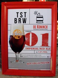 De Koninck Test Brew 01, an amarillo-citra hopped imperial red ale