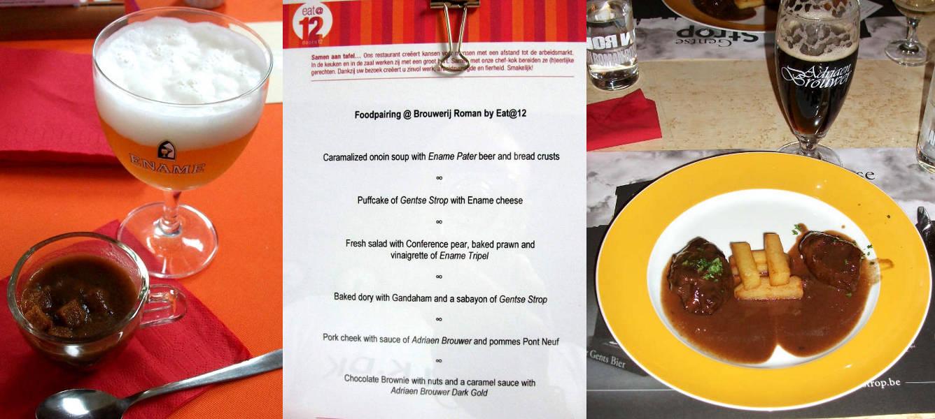Brouwerij Roman beer pairing lunch. Onion soup - the menu - pork cheek