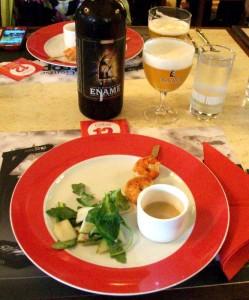 Pear salad, prawns and tripel vinaigrette