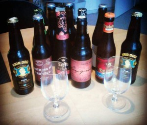 Some of the beers from the Odense November tasting.