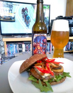Summer memories: Tour de France, home made burger, and Amager/Omnipollo Building Bridges. Nom nom nom!