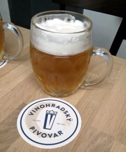 A glass of Czech lager at Vinohradsky Pivovar