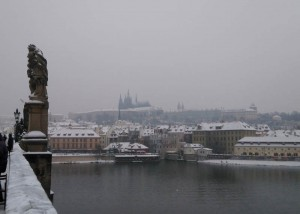 Prague in January. Every reason to sit indoors with a glass of beer
