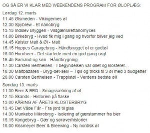 Program for aktiviteter på Esrum Kloster Ølfestival
