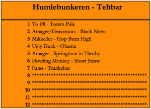 Beer list for Humlebunkeren at Christian Firtal Pale Ale Festival