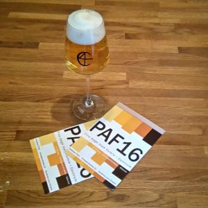 Glass and post cards. Christian Firtal Pale Ale Festival 2016