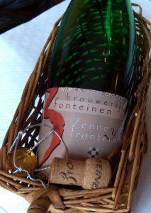 3 Fonteinen Zenne y Frontera geuze in a proper lambic basket