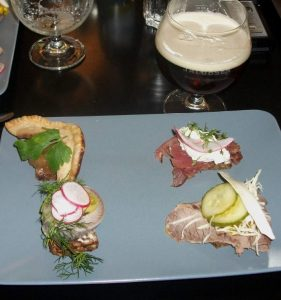 Danish smørrebrød and the strong dark lager Jacobsen Export 1874