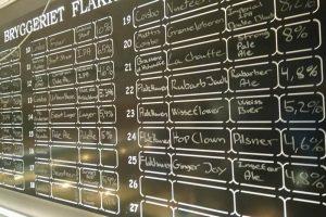 The blackboard at Ølkælderen