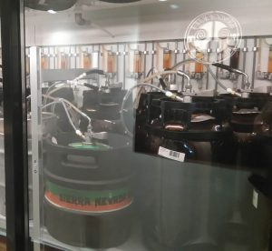 All the kegs are kept in the cold storage room to keep the beer in optimal condition
