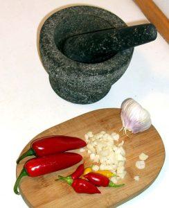 Chili, hvidløg og krydderier