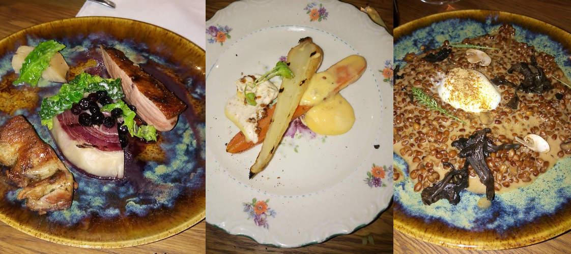 Tre af retterne på Eska Restaurant