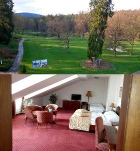 Værelset på Golf Resort Konopiště og udsigten fra værelset