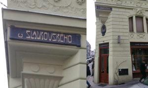 Café Sladkovský, eller i daglig tale bare Slad. Bemærk især det smukke gamle Art Nouveau skilt højt over døren.