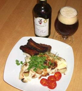 Omelet med stegte kartofler, flæsk og tomater. Hertil Krenkerup Doppelbock.
