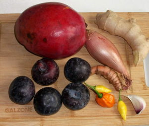 Ingredienser til hjemmelavet stærk chutney