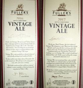 Beskrivelse af Fuller's Vintage Ale 2016 og 2017 på de flotte papæsker