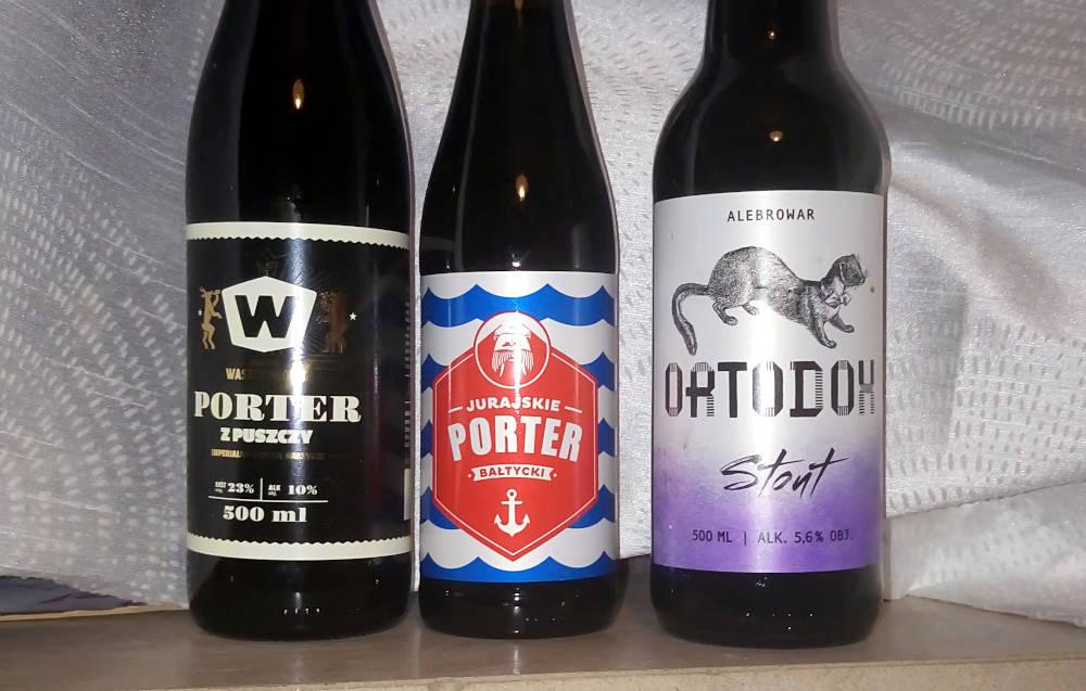 Tre polske øl. Bourbon BA Baltisk Porter fra Widawa, Baltisk Porter fra Jurajskie og Irsk Stout fra Alebrowar.